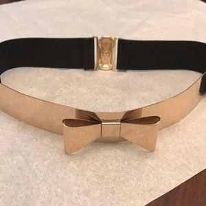 Accessories - Dainty Bow Belt Gold Metal Elastic